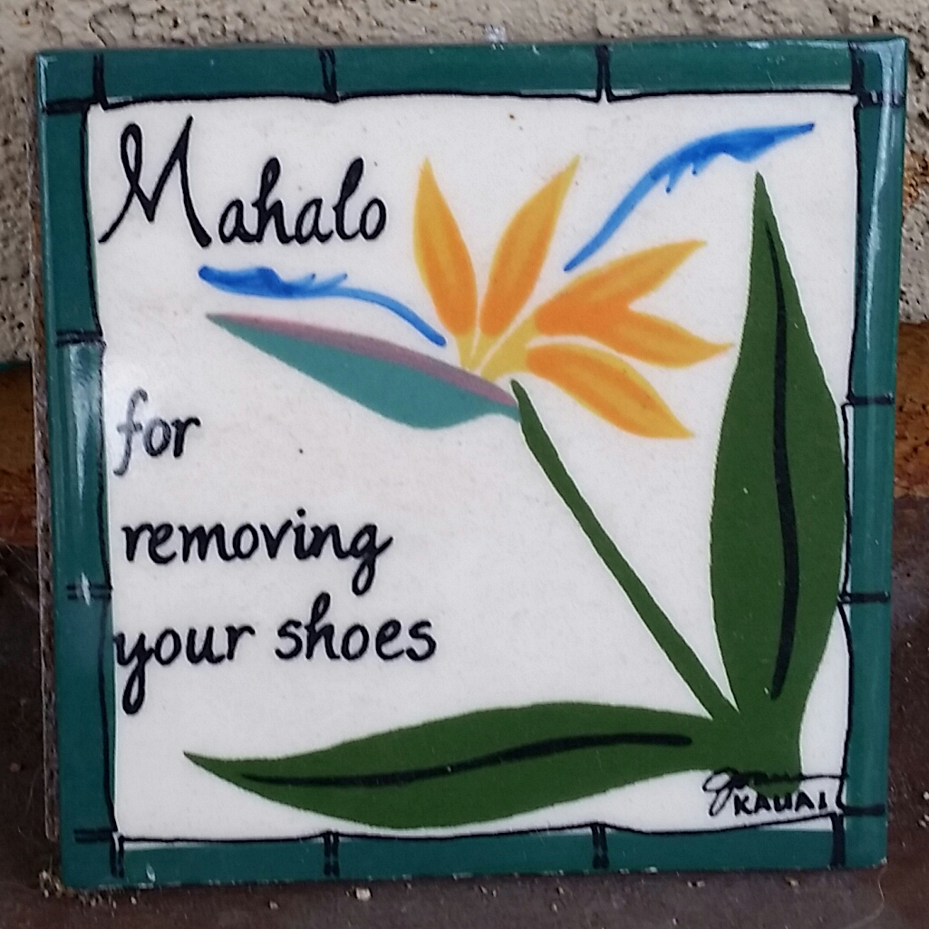 Take you shoes off mahalo