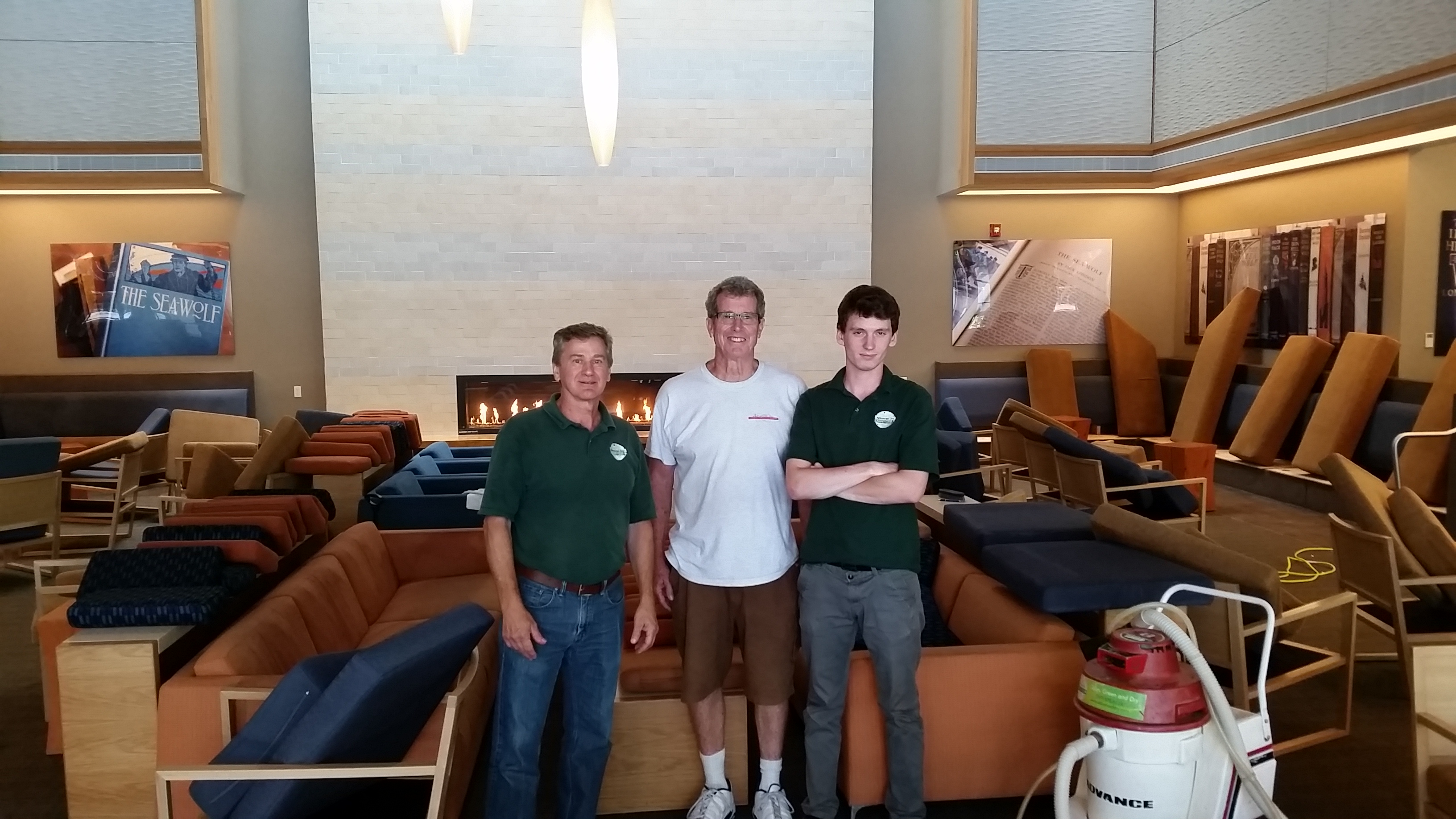 Dave, Kent and Anthony - at Sonoma State University Student Center cleaning upholstery