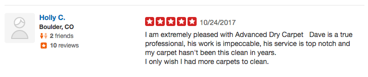 Yelp Carpet Cleaning Review 2017
