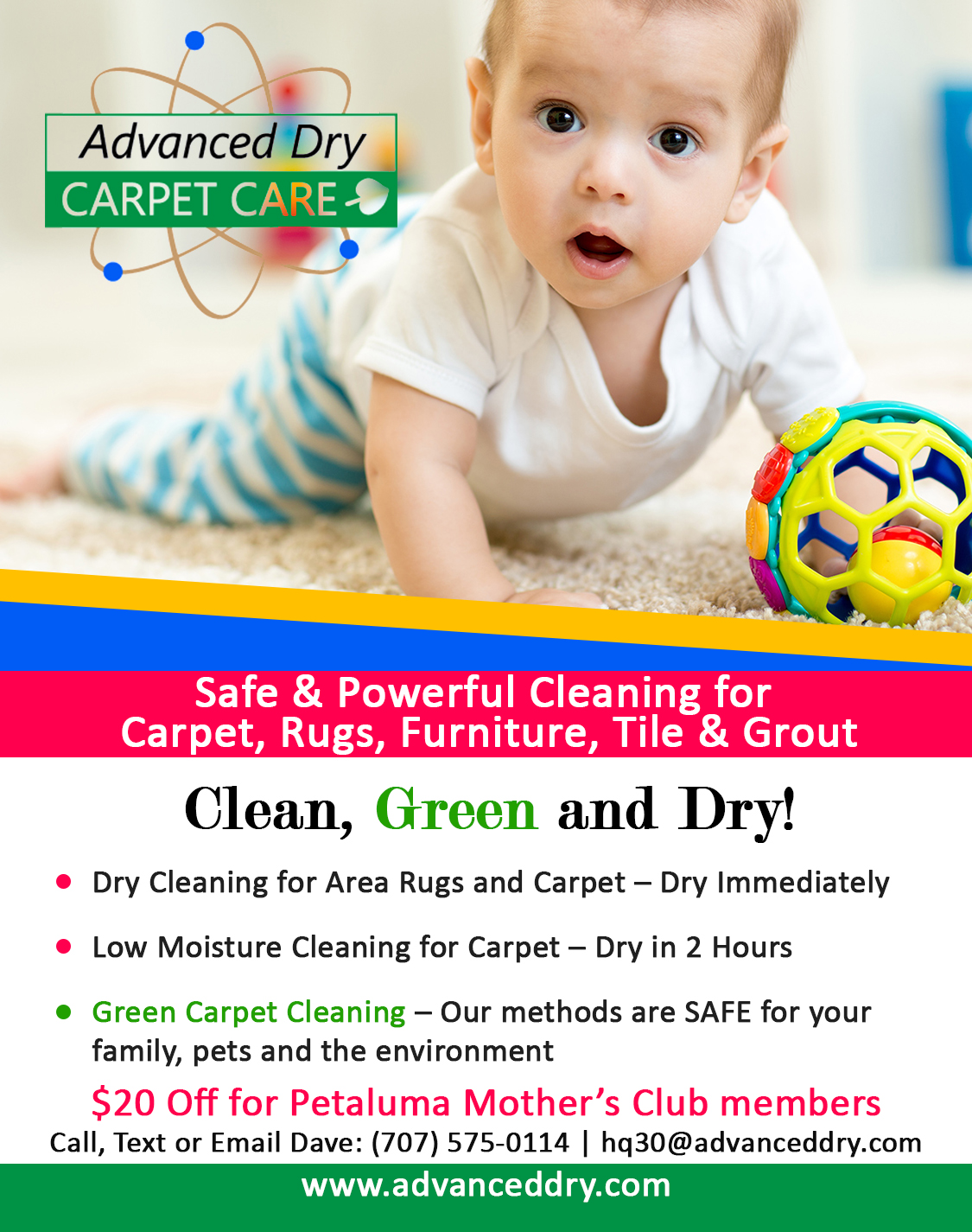 Petaluma Mother's Club Ad for Advanced Dry Carpet Care Petaluma